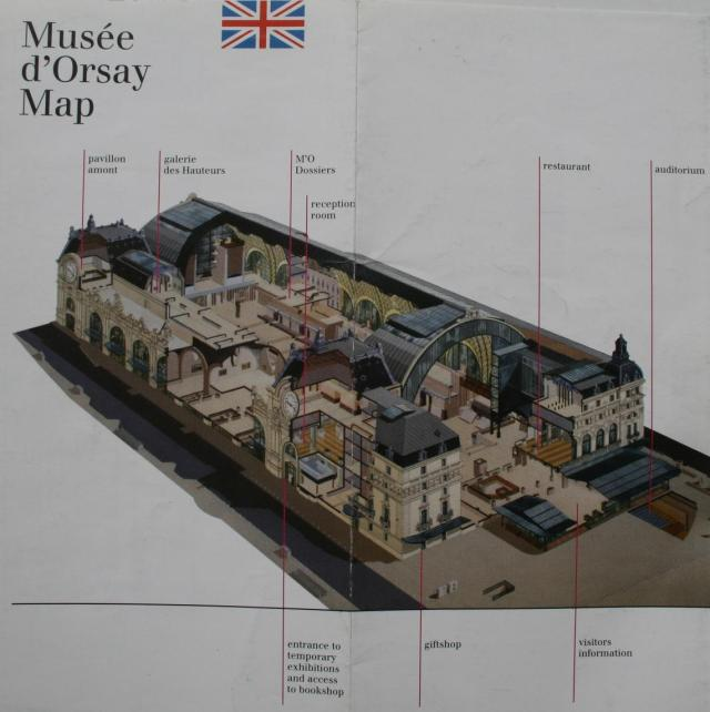 ISOMETRIC VIEW SHOWING THE INTERIOR SPACES OF THE MUSEE D'ORSAY in PARIS.