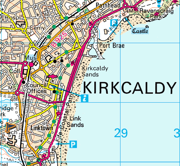 Map Of Kirkcaldy kirkcaldy map of historical and architectural features