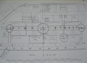 a matrix diagram of a town